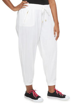 Plus Size Linen Joggers With Exposed Zipper Pockets - 1861051062857