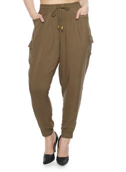 Plus Size Solid Cargo Joggers - OLIVE - 1861051063171