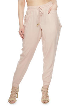Plus Size Solid Cargo Joggers - BLUSH - 1861051063171