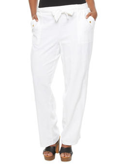 Plus Size Linen Pants With Self Tie Belt And Flap Pockets,WHITE,medium