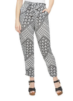 Plus Size Pants With Self Tie Belt And Mixed Floral Print,BLACK/WHITE,medium