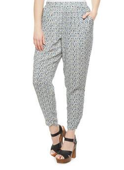 Plus Size Harem Pants With Techno Aztec Print,BLACK,medium