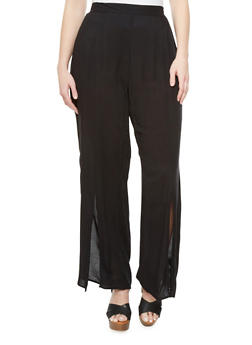 Plus Size Solid Elastic Back Pants With Front Slits,BLACK,medium