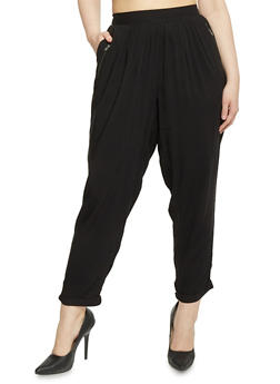 Plus Size Solid Pants with Zip Trimmed Pockets - BLACK - 1861051063415