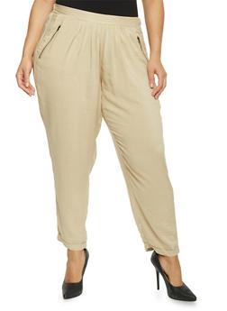 Plus Size Solid Pants with Zip Trimmed Pockets - KHAKI - 1861051063415