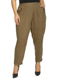 Plus Size Solid Pants with Zip Trimmed Pockets - 1861051063415