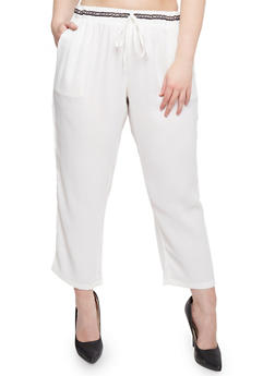 Plus Size Crepe Pants with Drawstring Waist - WHITE - 1861051063442