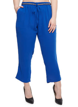 Plus Size Crepe Pants with Drawstring Waist - 1861051063442