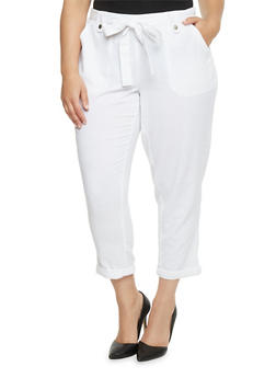 Plus Size Linen Pants with Sash Belt - 1861051063458