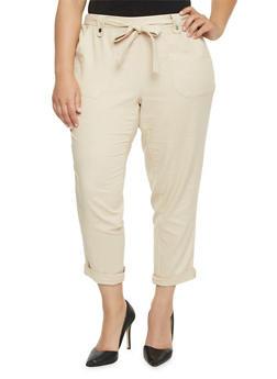 Plus Size Linen Pants with Sash Belt - 1861051063458