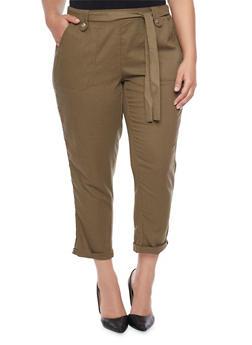 Plus Size Linen Pants with Sash Belt - OLIVE - 1861051063458