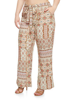 Plus Size Belted Border Print Palazzo Pants - 1861051063480