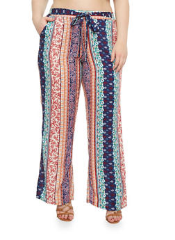 Plus Size Belted Border Print Palazzo Pants - NAVY - 1861051063480