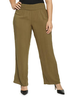 Plus Size Palazzo Pants with Smocked Waist - OLIVE - 1861051063483