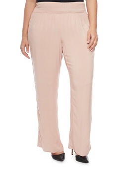 Plus Size Palazzo Pants with Smocked Waist - 1861051063483