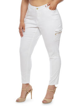 Plus Size Jeans with Side Zip Pocket - WHITE - 1861051063513