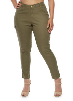 Plus Size Jeans with Side Zip Pocket - OLIVE - 1861051063513