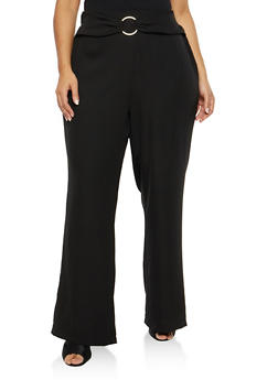 Plus Size Palazzo Pants with Ring Waist Detail - 1861051063636