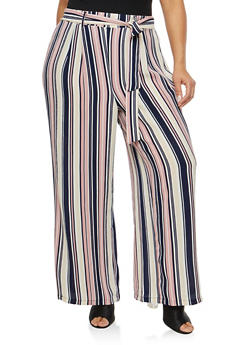 Plus Size Striped Crepe Knit Palazzo Pants - 1861051063639