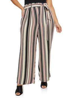 Plus Size Striped Crepe Knit Palazzo Pants - 1861051063639
