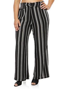 Plus Size Striped Crepe Knit Palazzo Pants - WHITE - 1861051063640