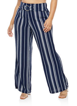 Plus Size Striped Crepe Knit Palazzo Pants - 1861051063640