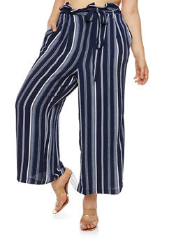 Plus Size Stripe Crepe Knit Palazzo Pants - 1861051063641