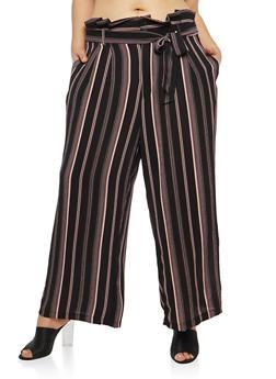 Plus Size Stripe Crepe Knit Palazzo Pants - 1861051063641