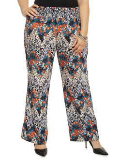 Plus Size Printed Palazzo Pants with Smocked Waist - 1861051069317