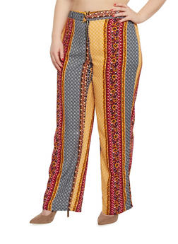 Plus Size Printed Palazzo Pants with Front Zip and Belt - 1861051069323