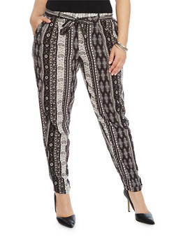 Plus Size Printed Pants with Sash Belt - 1861051069327
