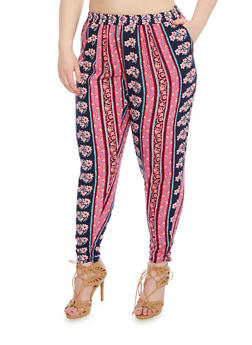 Plus Size Printed Pants with Knit Waist - 1861051069328