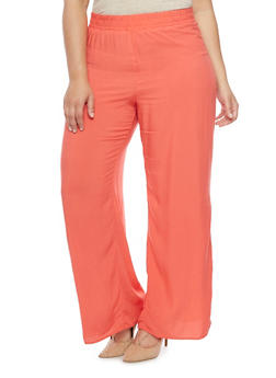 Plus Size Solid Colored Palazzo Pants - 1861054260277