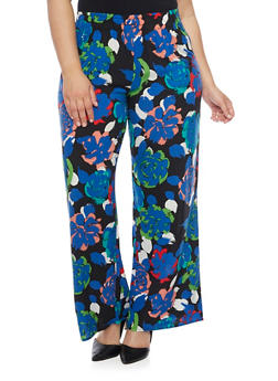 Plus Size Palazzo Pants with Floral Print - 1861054267678