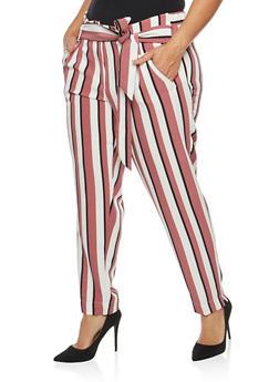 Plus Size Striped Tie Front Pants - 1861056570212