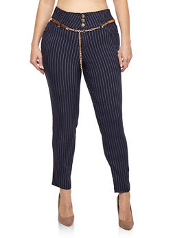 Plus Size High Waisted Belted Pinstripe Pants - 1861056572262