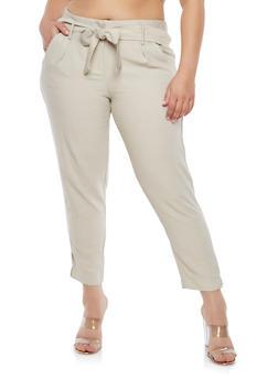 Plus Size Tie Front Linen Pants - 1861056574412