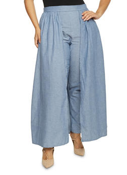 Plus Size Chambray Pants with Skirt Overlay - 1861058933032