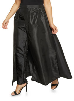 Plus Size Taffeta Dress Pants with Skirt Overlay - 1861058933033
