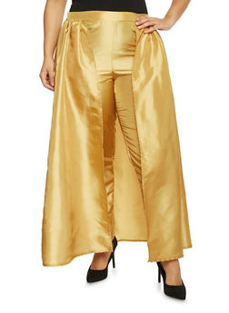 Plus Size Taffeta Dress Pants with Skirt Overlay - MUSTARD - 1861058933033