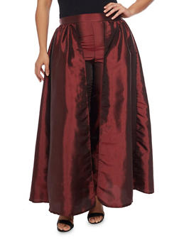 Plus Size Taffeta Dress Pants with Skirt Overlay - BURGUNDY - 1861058933033