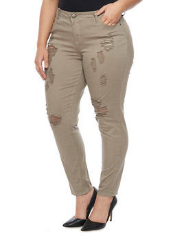 Plus Size 5 Pocket Frayed Pants - 1861060580060