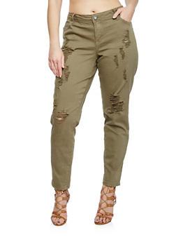 Plus Size 5 Pocket Frayed Pants - OLIVE  (Y03) - 1861060580060