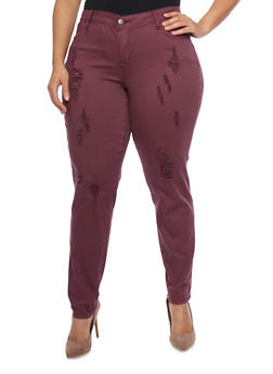 Plus Size 5 Pocket Frayed Pants - BURGUNDY - 1861060580060
