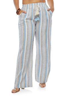 Plus Size Striped Linen Pants - 1861060582366