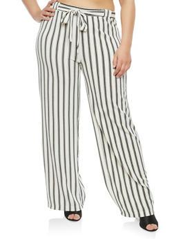 Plus Size Striped Tie Front Palazzo Pants - 1861060583111