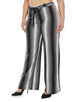 Plus Size Striped Knit Palazzo Pants - 1861060583112