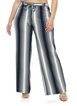 Plus Size Striped Tie Front Palazzo Pants - 1861060583113