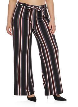 Plus Size Black Stripe Knit Palazzo Pants - 1861060583114