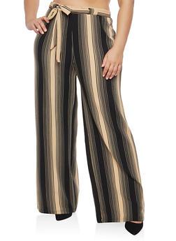 Plus Size Khaki Stripe Knit Palazzo Pants - 1861060583139